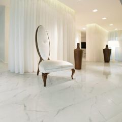 Baranello Rectified Polished Porcelain Floor & Wall Tile (White)
