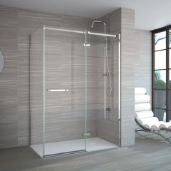 Merlyn Series 8 Frameless Hinge Shower door with Inline and Side Panels