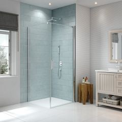 Merlyn Series 8 Frameless Pivot Shower Door with Side Panel