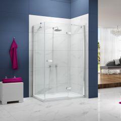 Merlyn Essence Frameless Hinge & Inline Shower Door with Side Panel