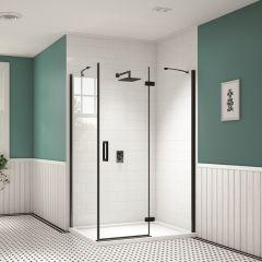 Merlyn Black Hinge & Inline Shower Door with Side Panel