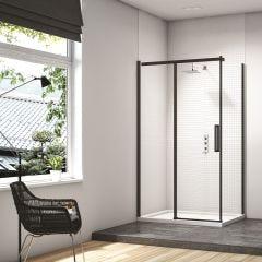 Merlyn Black Sliding Shower Door with Side Panel