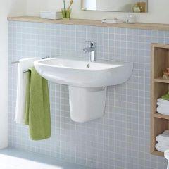 Duravit D-Code Wash Basin (1 taphole) with Semi-Pedestal