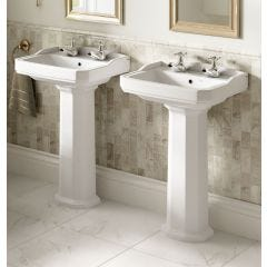 Roxton 530mm 2 Taphole Basin with Full Pedestal