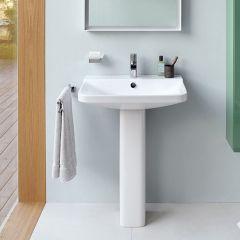Duravit Me by Starck 650mm Wash Basin (1 taphole) and Full Pedestal