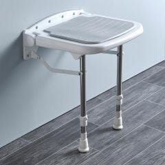 Compact Padded Wall Mounted Shower Seat with Legs
