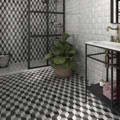 Cube Porcelain Floor & Wall Tile 46x46cm (Gris)
