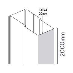 Merlyn Ionic Essence Hinge & Inline Shower Door Extension Profile (20mm)