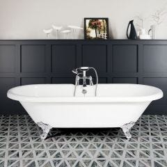 Double End Freestanding Bath with 2 Tapholes & Traditional Feet