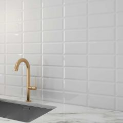 Metro Ceramic Gloss Wall Tile 20x10cm (White)