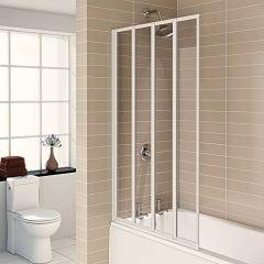 Aqualux 4 Fold Bath Screen (White)