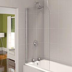Aqualux Half Framed Clear Glass Bath Screen (White)