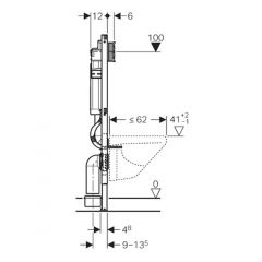 Geberit Duofix with 12cm Sigma Cistern, Wall Anchoring and Connection Bend