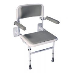 Standard Wall Mounted Foldable Shower Seat with Backrest and Armrests (padded)