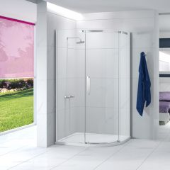 Merlyn Essence Frameless 1200x900mm 1 Door Offset Quad Fixed Shower Panel