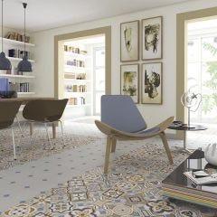 Vodevil Octagona Musichalls Porcelain Floor & Wall Tile 20x20cm (Multicolour)