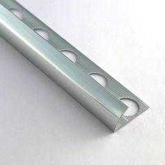 10.5mm Round Edge Aluminium Tile Trim (Gloss Silver)
