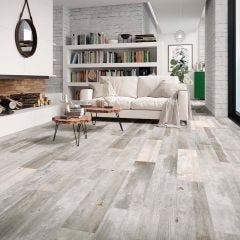 Barnwood Porcelain Floor Tile 15x90cm (Silver)